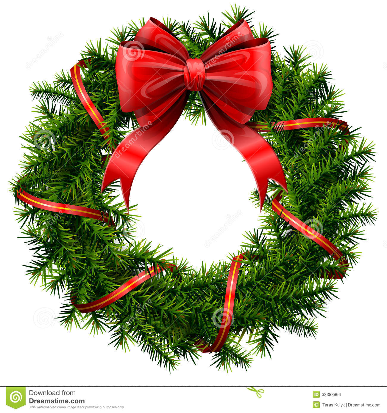 Christmas Wreath With Red Bow And Ribbon Stock Vector.