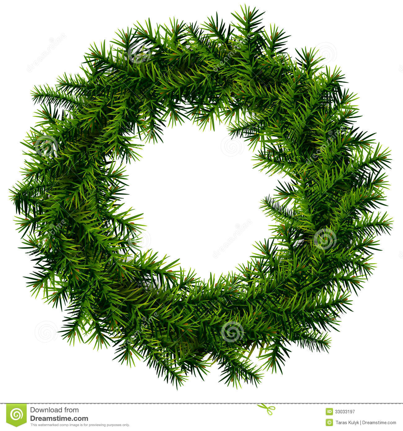 Christmas Wreath Without Decoration Stock Vector.