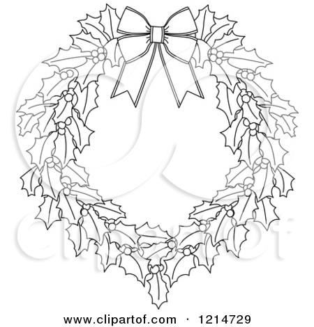 Wreath Outline Clipart.