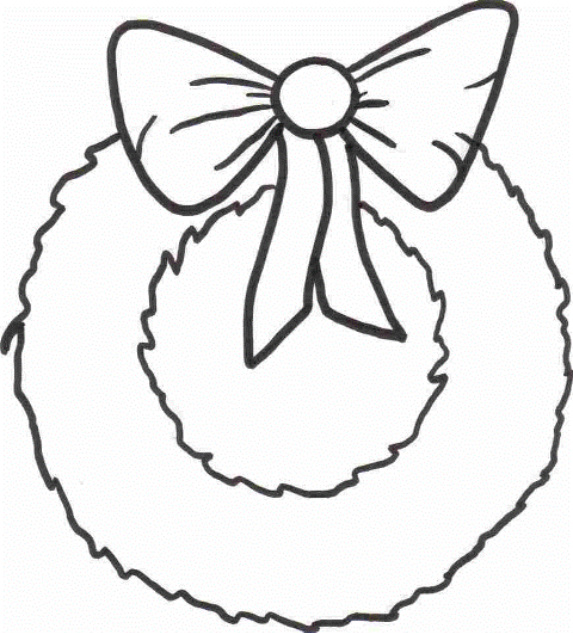 Christmas wreath clipart outline clipground for Christmas wreath coloring pages