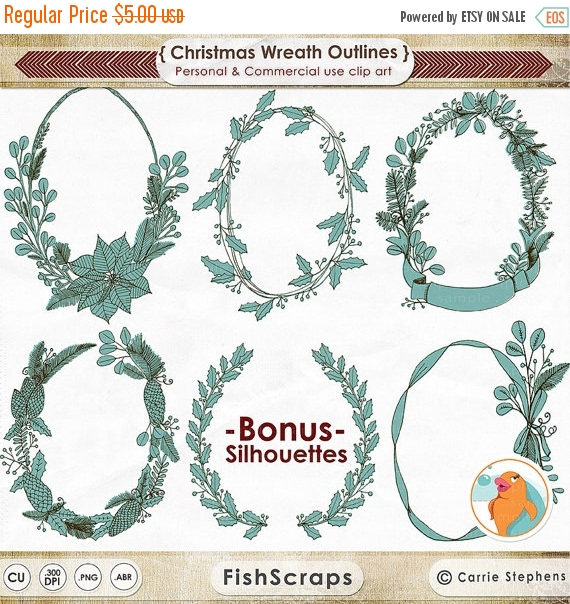 75% SALE Christmas Wreath Line Art, Hand Drawn Illustration.