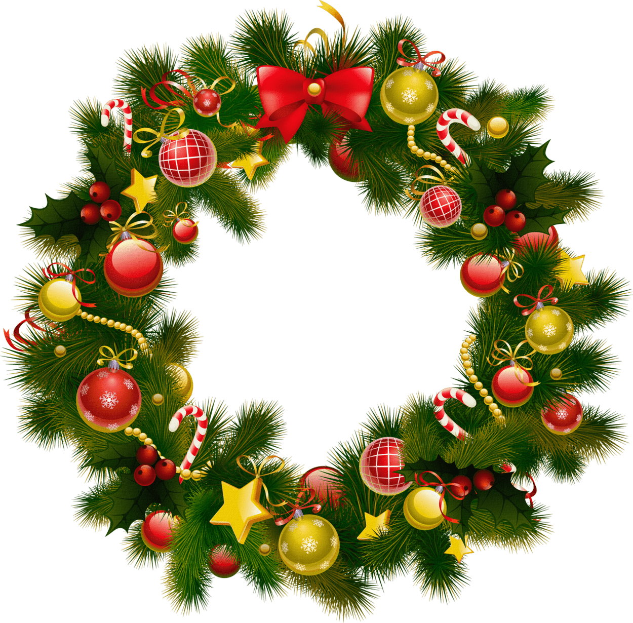 Simple Christmas Wreath transparent PNG.