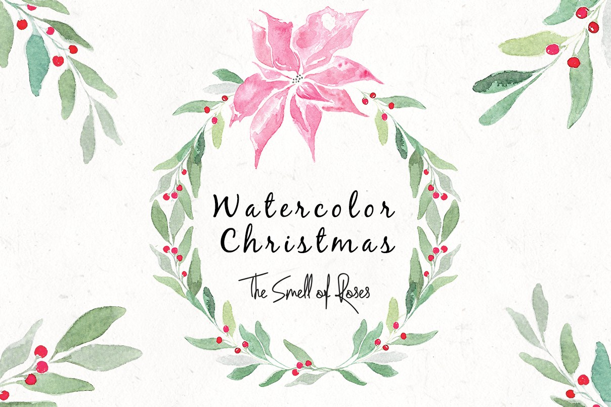 Free christmas watercolour flowers and wreaths.
