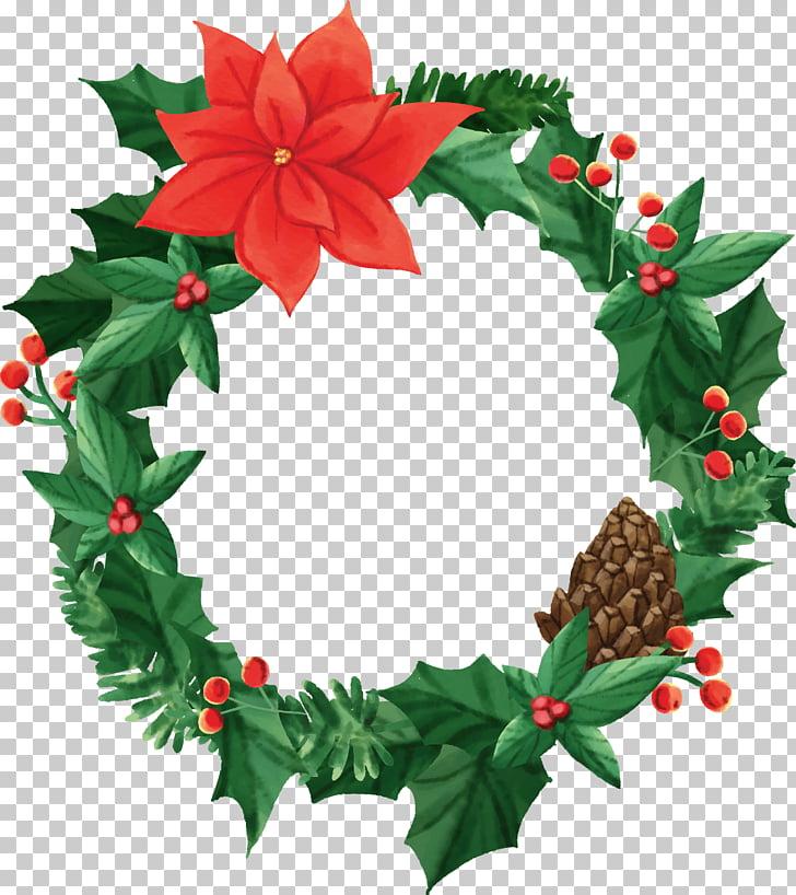 Wreath Christmas Garland Flower, Christmas Wreath PNG.