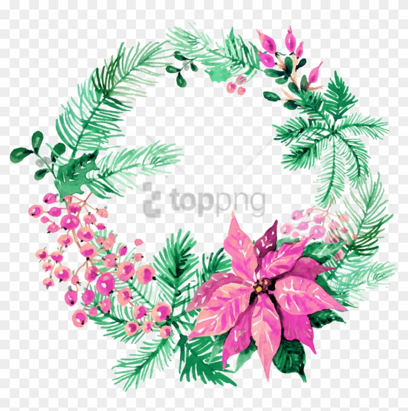 Free Png Download Watercolor Christmas Wreath Png Images.