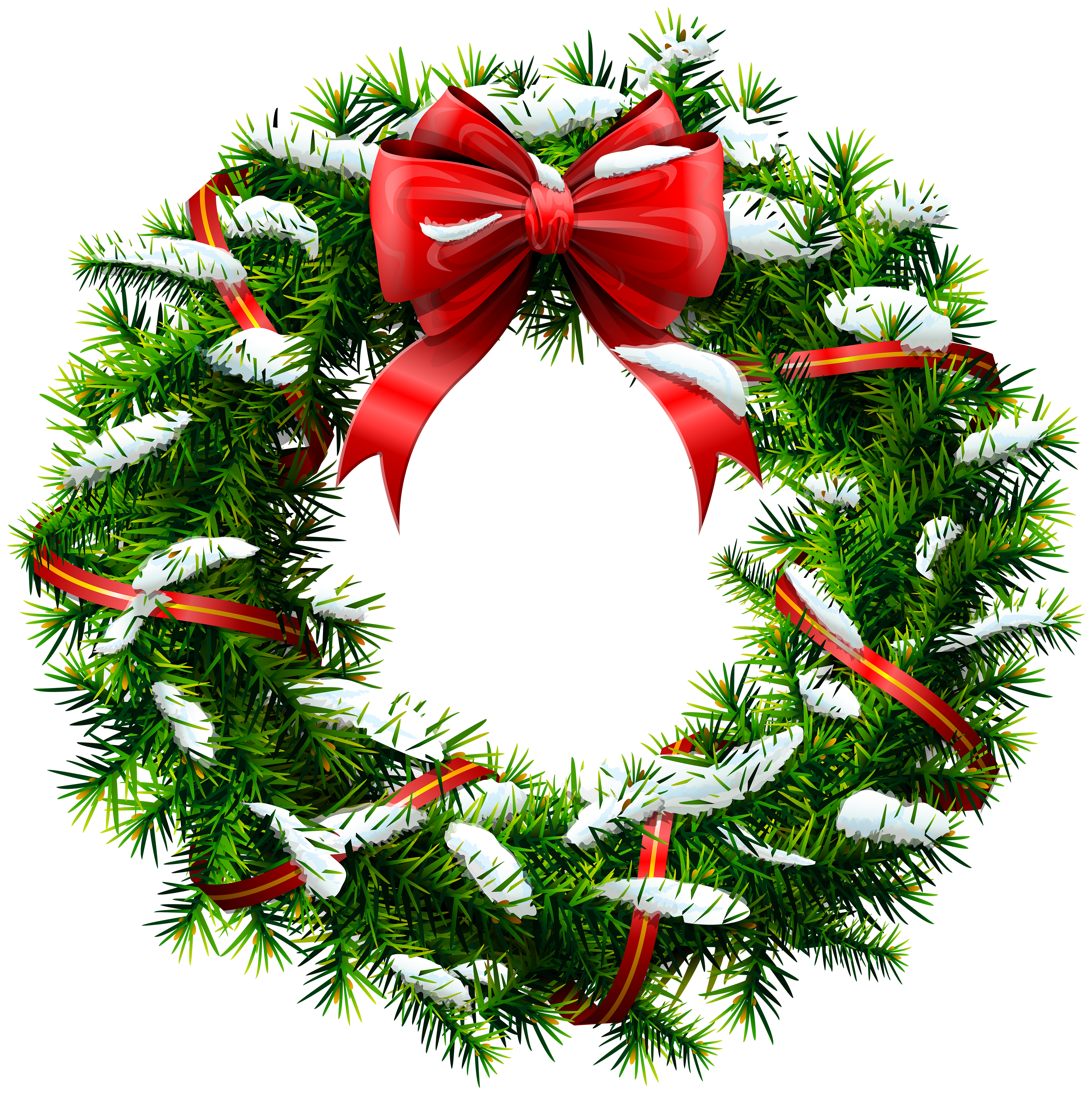 Christmas Wreath with Snow PNG Clip Art.