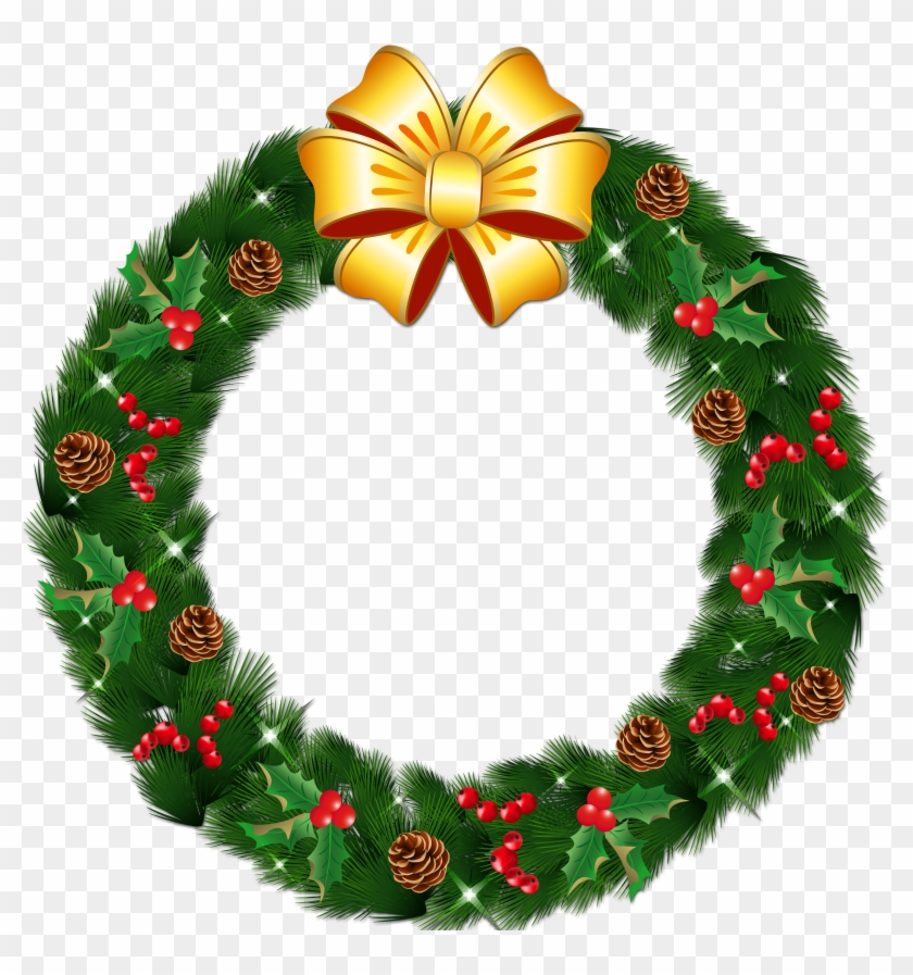 Transparent Christmas Pine Wreath With Gold Bow Png.