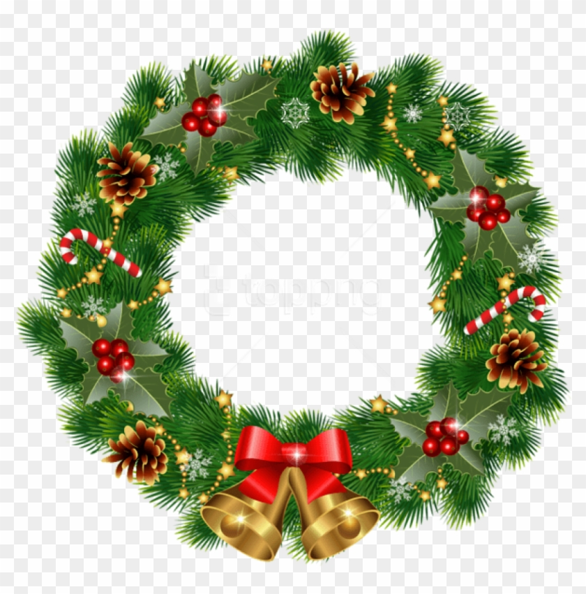 Free Png Christmas Wreath With Bells Png Images Transparent.