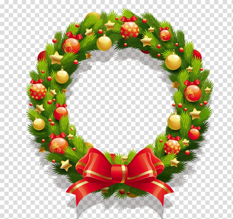Wreath Christmas , Christmas wreath transparent background PNG.