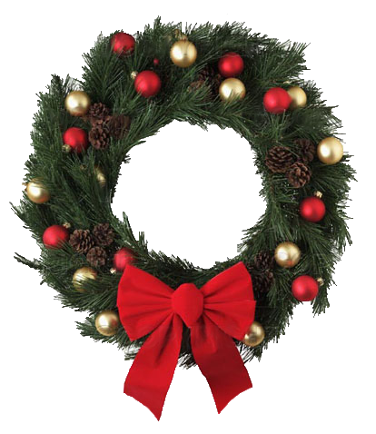 Transparent Christmas Wreath with Red Bow PNG Picture #39761.