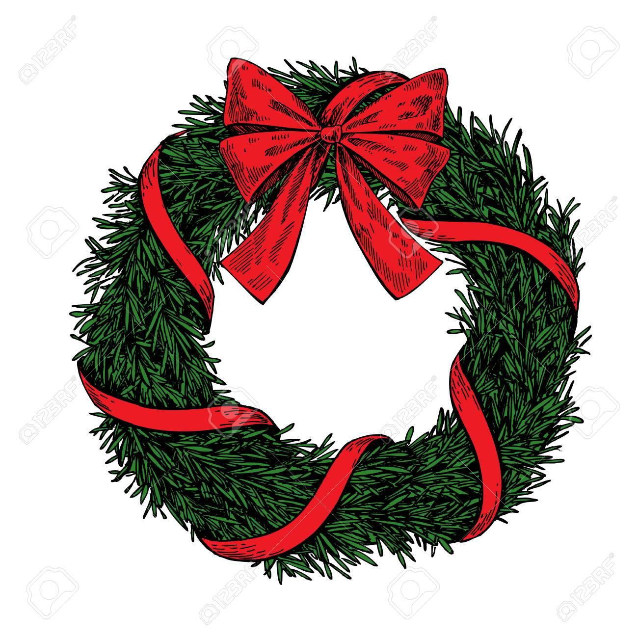 Vector Christmas Wreath Clipart.