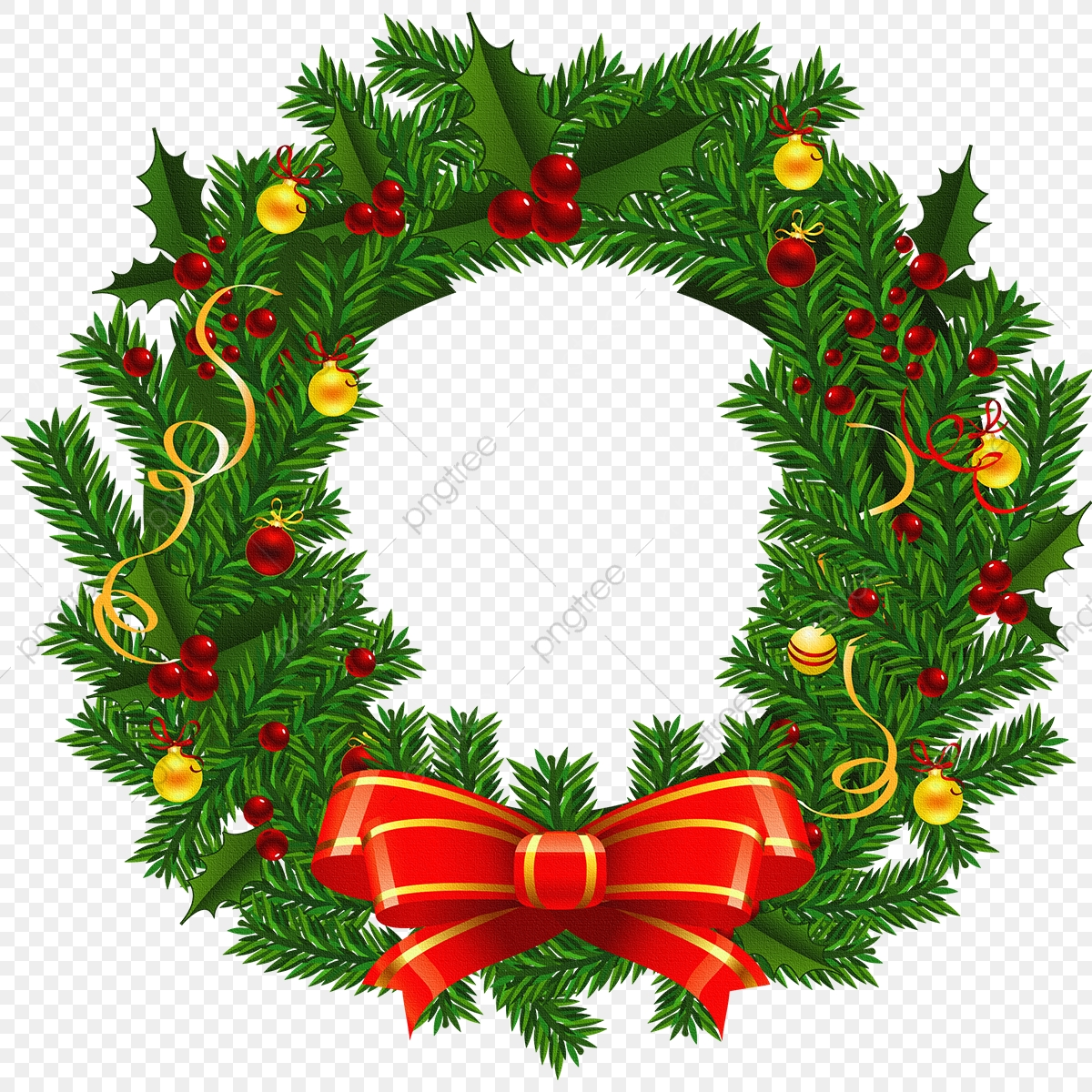Christmas Wreath, Christmas Wreath Vector, Wreath Vector PNG.