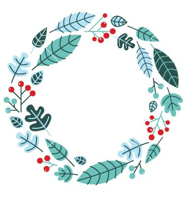 Christmas retro holiday wreath isolated on white vector art.