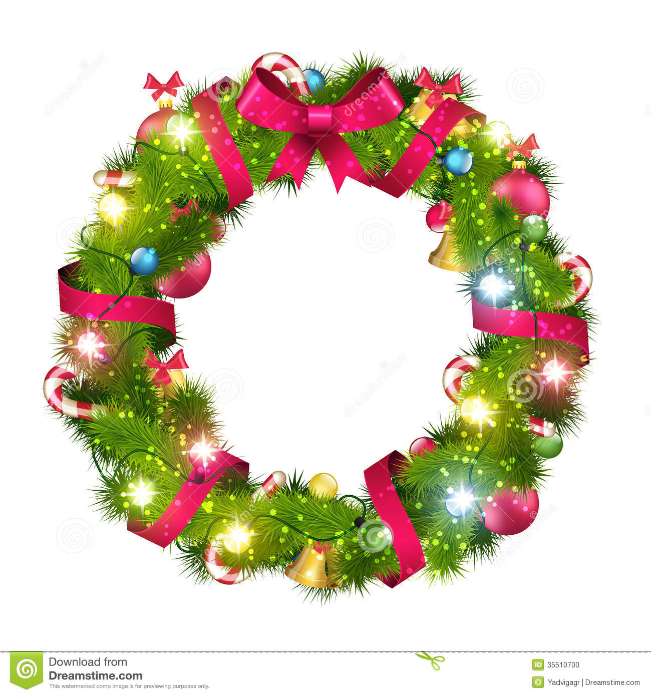 Christmas wreath stock vector. Illustration of white.
