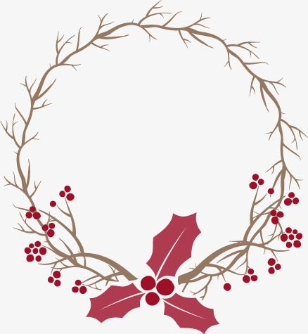 Christmas Wreath Vector Material, Branches, Christmas, Red PNG and.