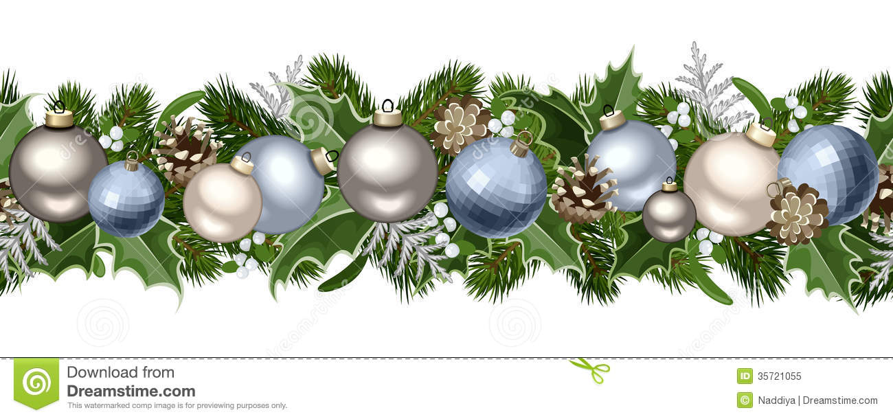 Silver Christmas Wreath Clip Art.