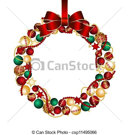 Clip Art Vector of Christmas wreath decoration from Christmas.