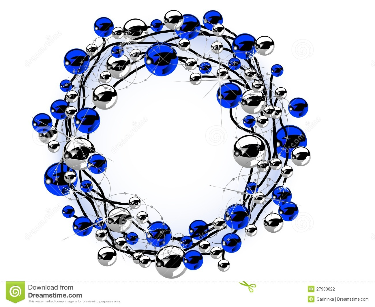 Christmas wreaths and balls clipart.