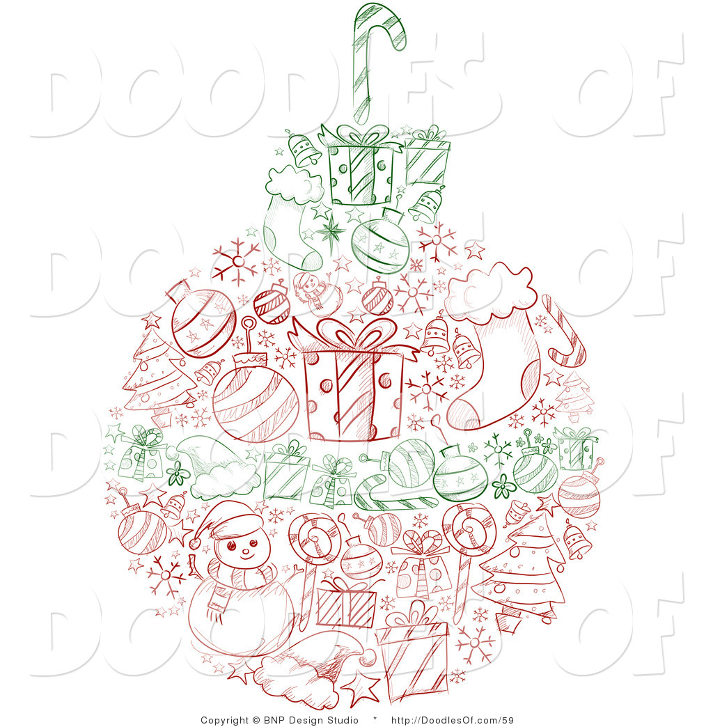 Vector Clipart of a Red and Green Sketched Christmas Ball with.