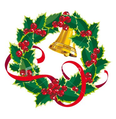 Christmas label clipart wreath.