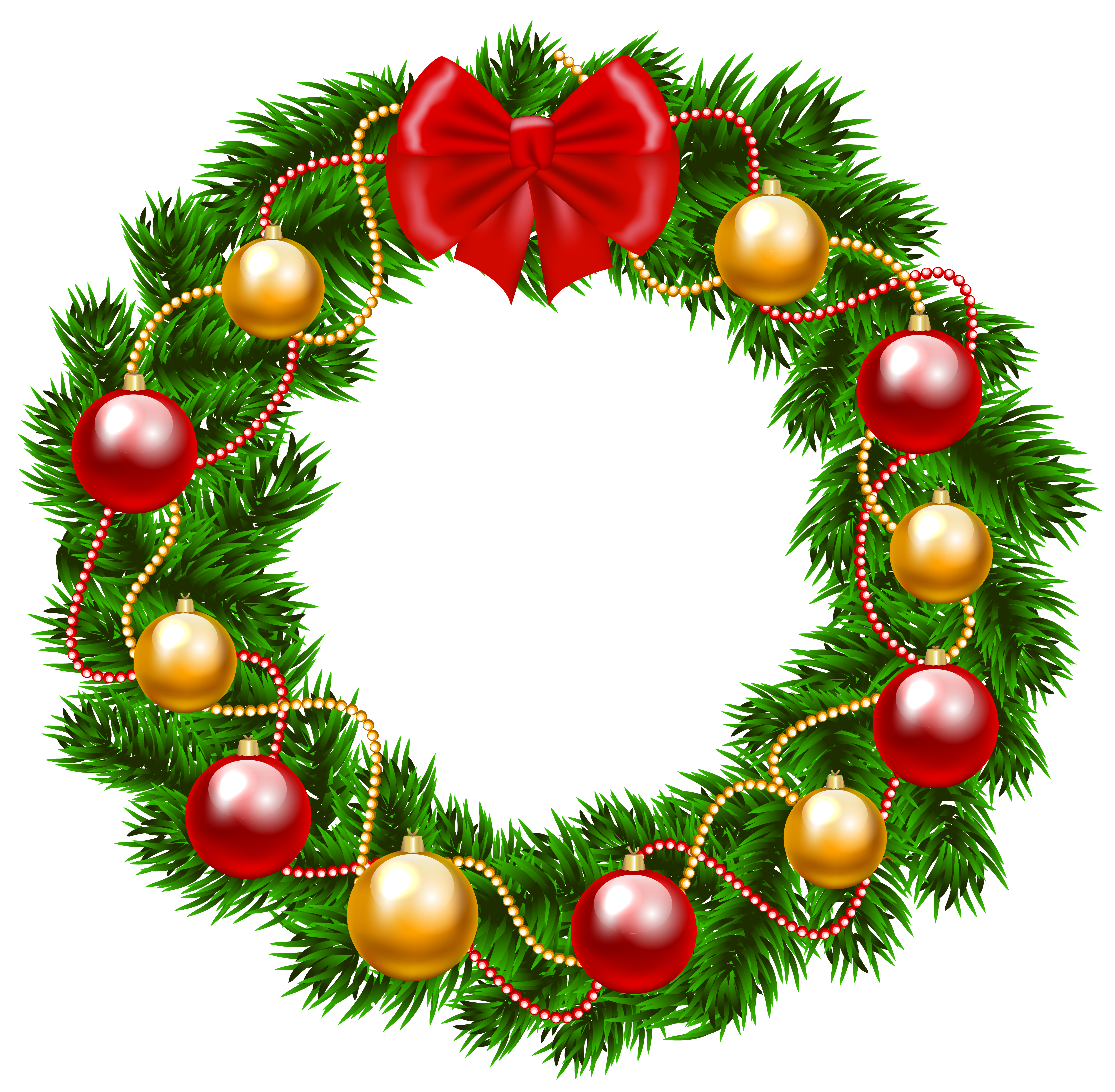 Christmas Wreath PNG Clipart Image.