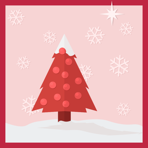 Christmas tree in the snow greeting card vector clip art.