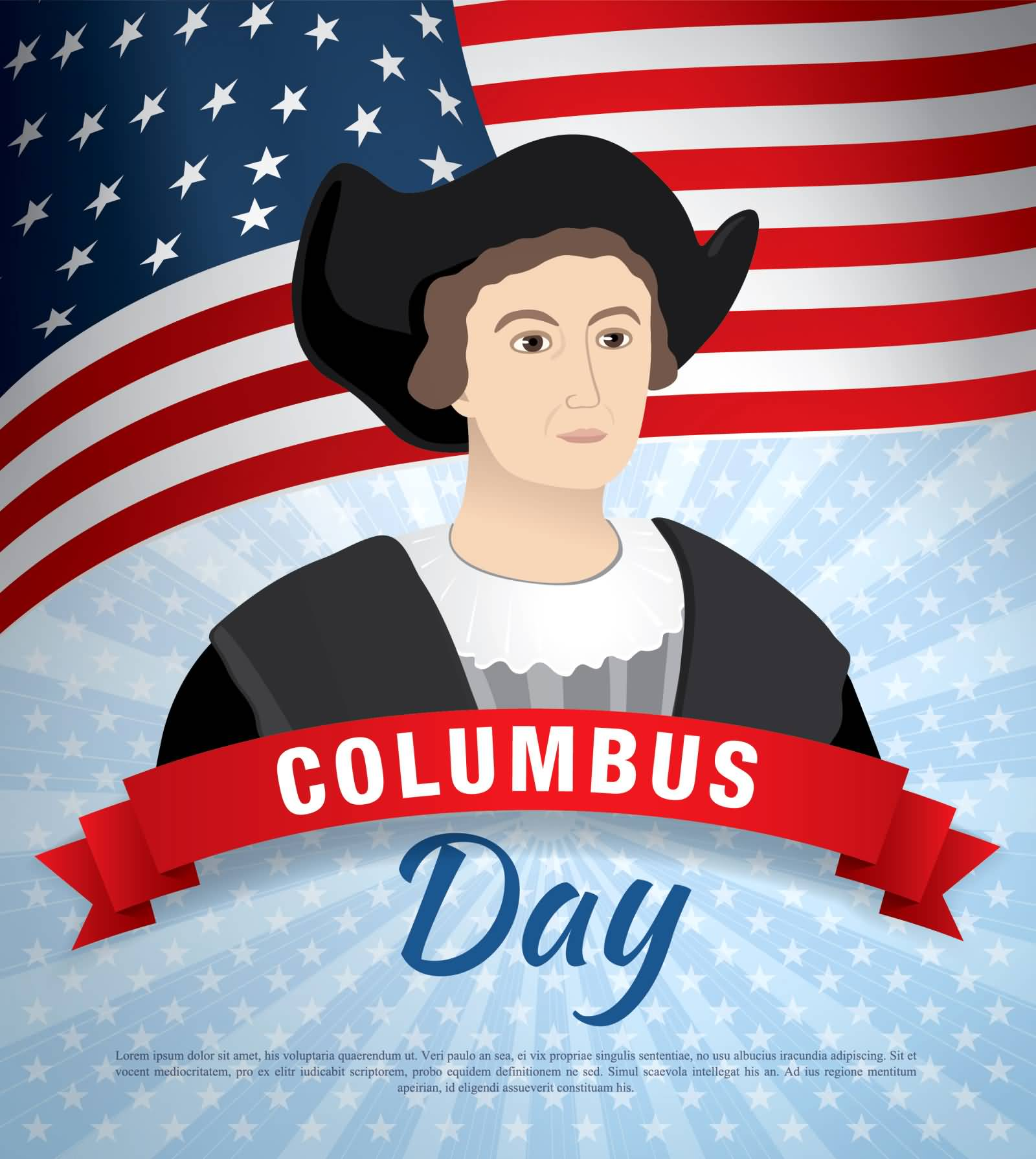 Columbus Day Christopher Columbus Clipart Image.