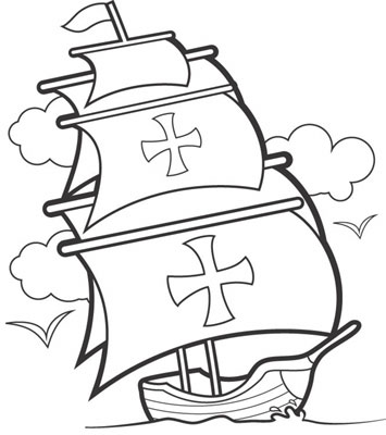 Christopher columbus clipart black and white.
