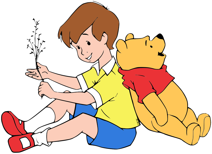 Clip art of Christopher Robin and Winnie the Pooh sitting back to.