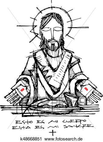 Jesus christus, und, eucharistie, symbole, abbildung Clipart.