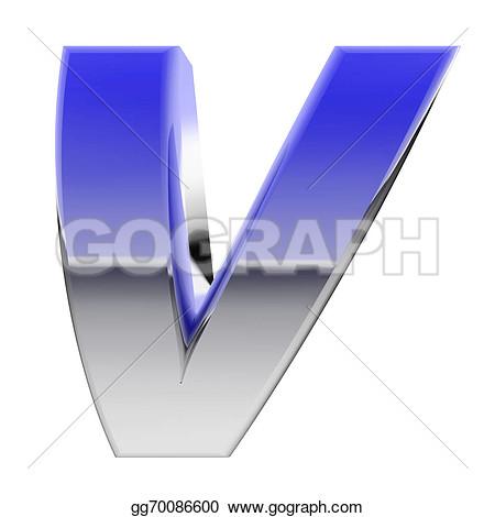 Chrome Letter V High Resolution Clipart.