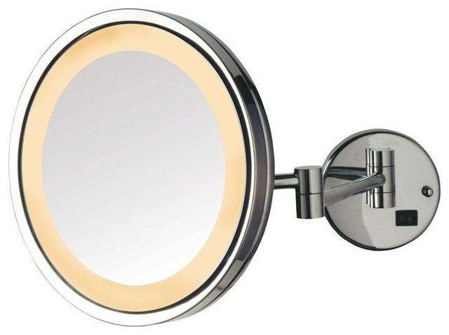 LED Lighted Wall Mount Mirror, Chrome Finish.