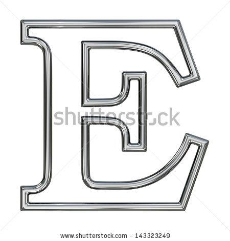 Alphabet Symbol E Chrome Pipe Outline Stock Illustration 143323249.