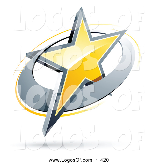 Logo Vector of a Shiny Yellow Star in a Chrome Circle, Above Space.