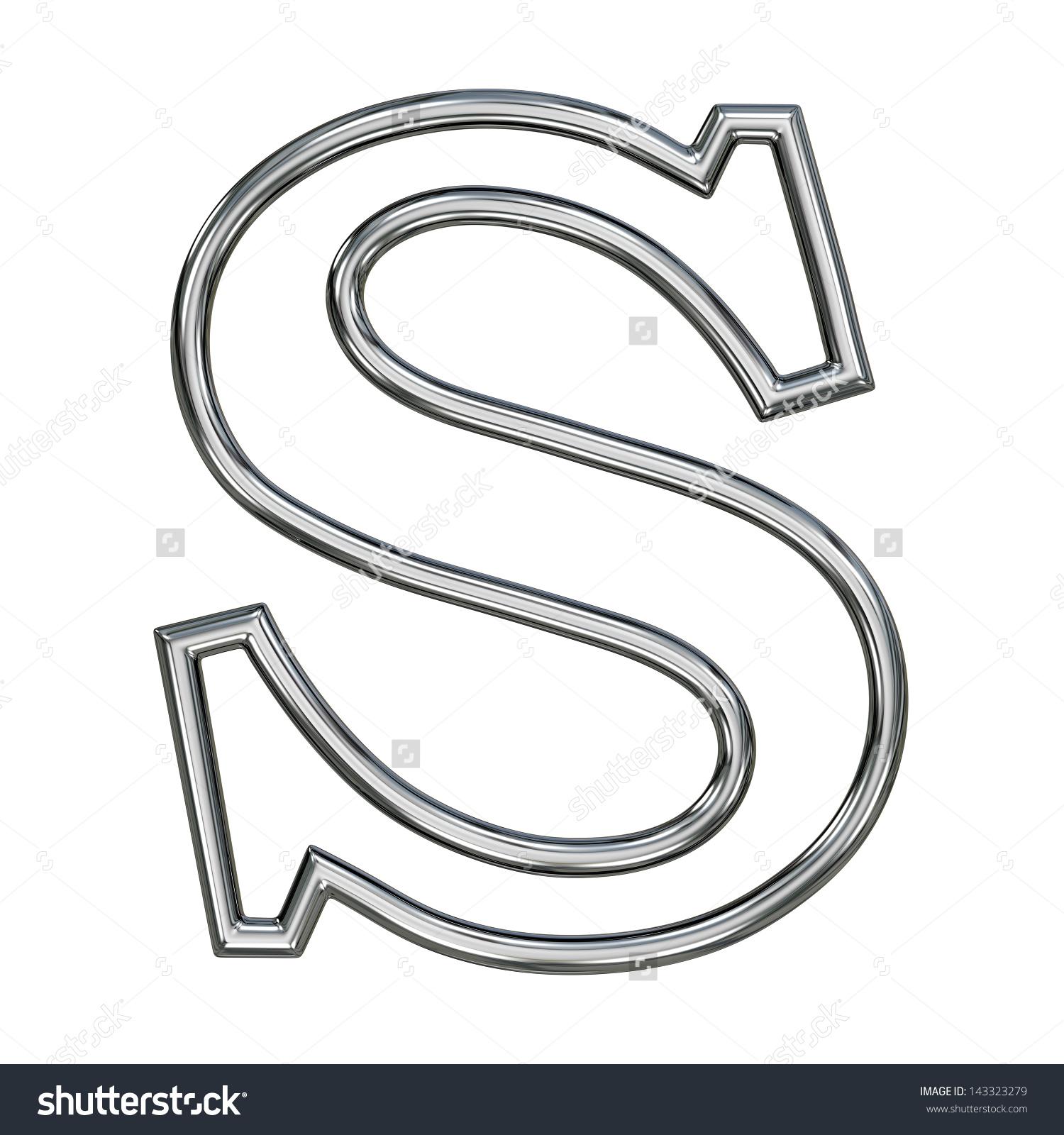 Alphabet Symbol S Chrome Pipe Outline Stock Illustration 143323279.