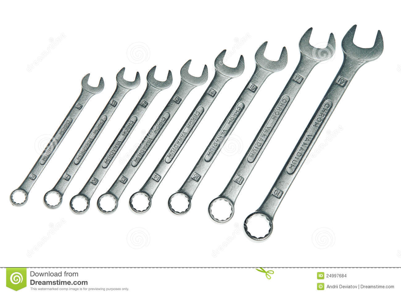 Eight Different Sizes Chrome Vanadium Wrenches Stock Images.
