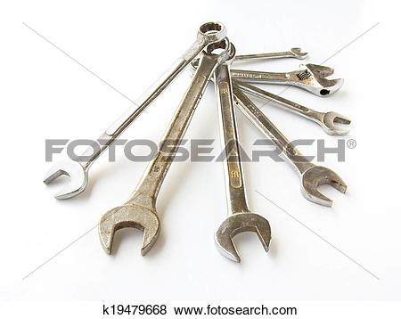 Pictures of different sizes chrome vanadium wrenches k19479668.