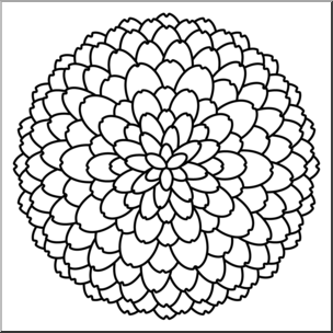 Clip Art: Flower: Chrysanthemum B&W I abcteach.com.