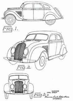 US Patent Drawings for Carl Breer's 1934 Chrysler and DeSoto.