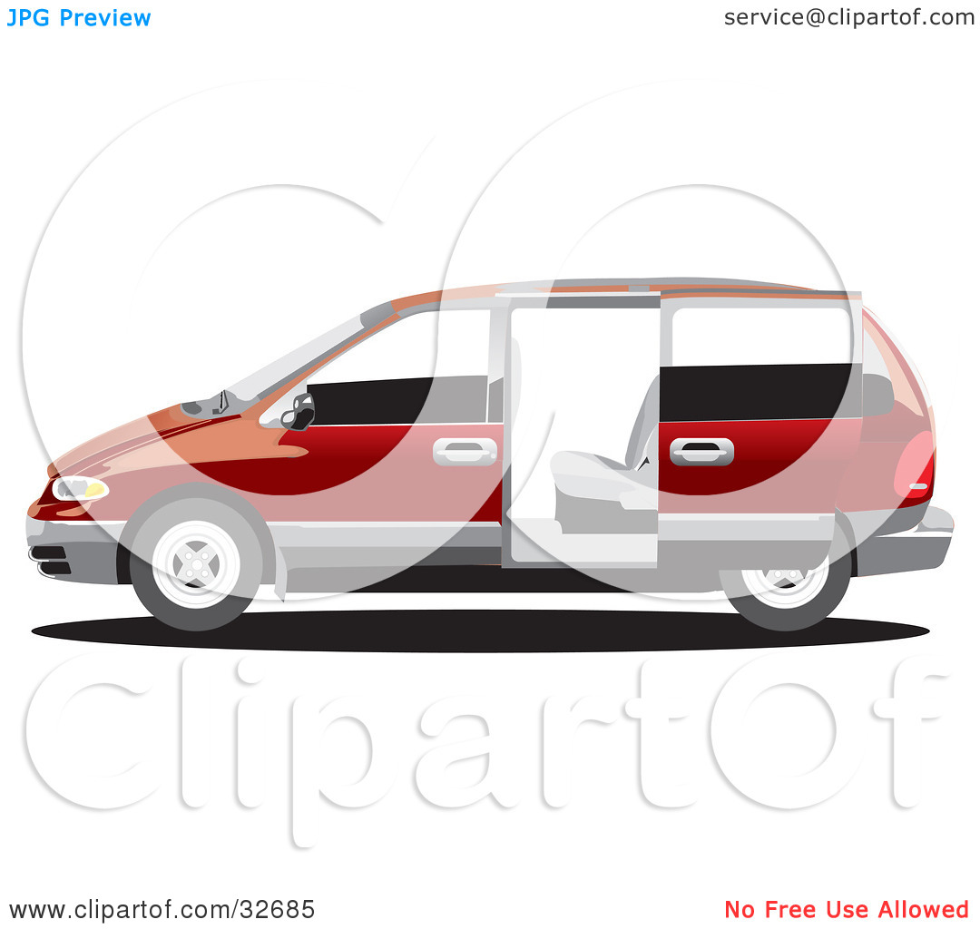 Clipart Illustration of a Red Chrysler Voyager Minivan With Tinted.