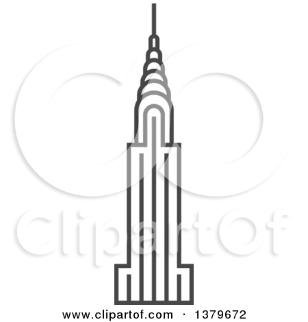 Clipart of a Grayscale Chrysler Building.