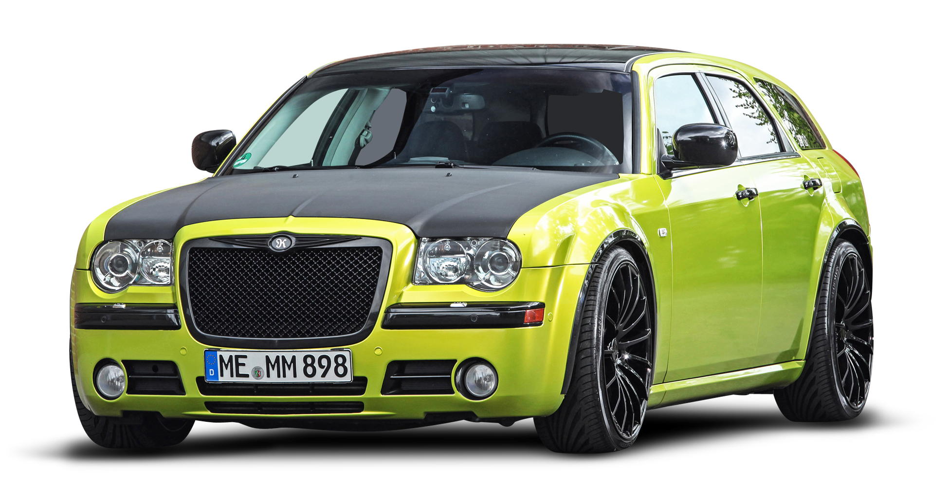 Green Chrysler 300C Car PNG Image.