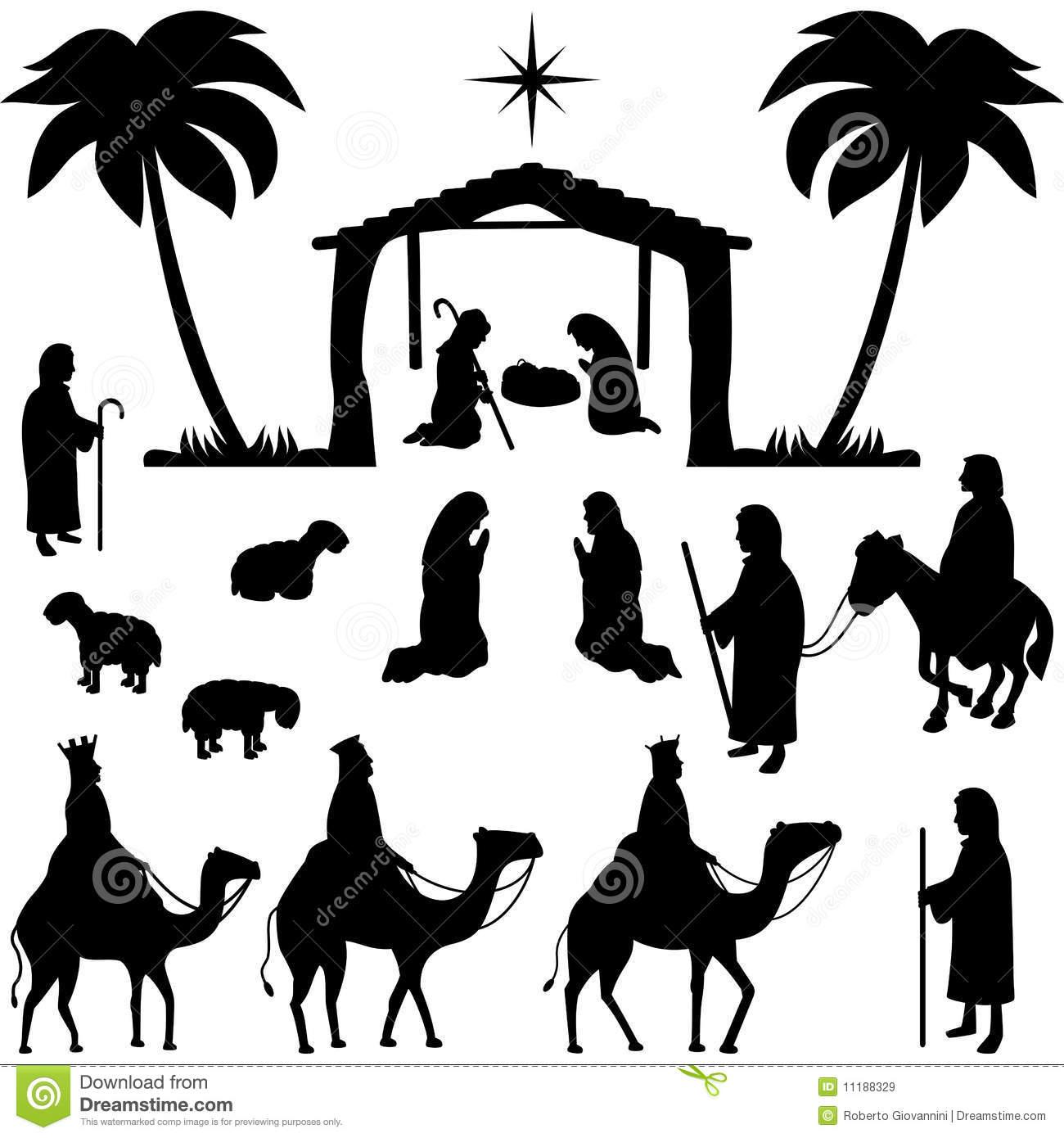 De Inzameling Van De Silhouetten Van De Geboorte Van Christus.