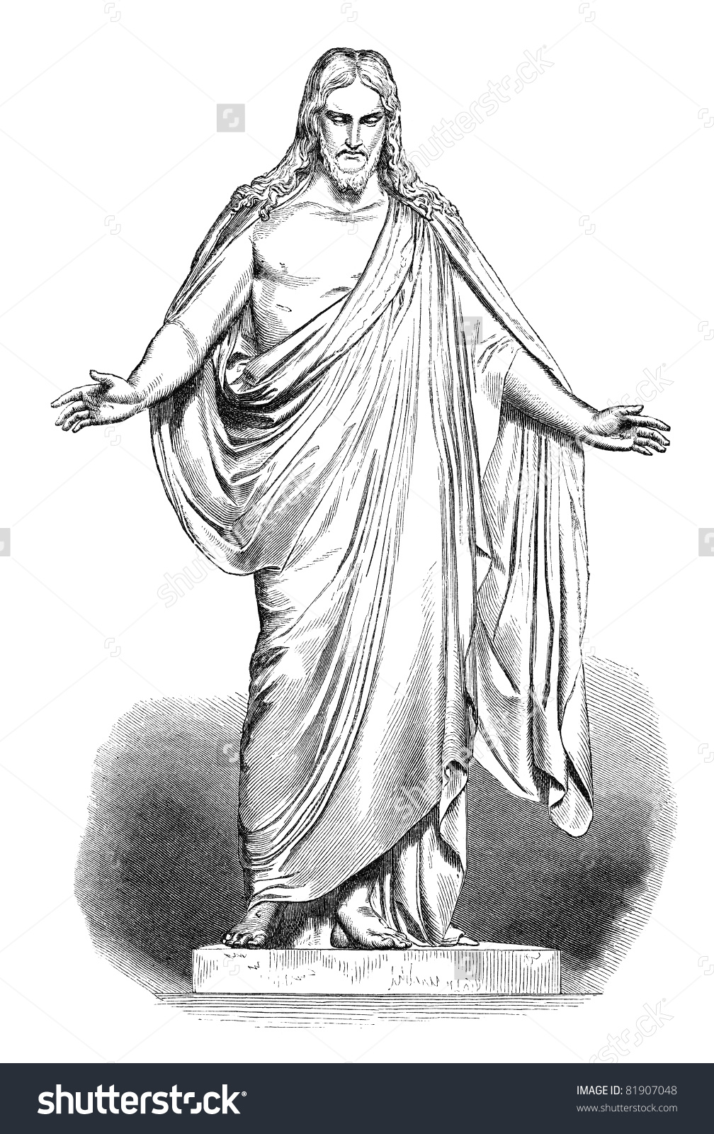 Illustration Jesus Based On Thorvaldsens Christus Stock Photo.