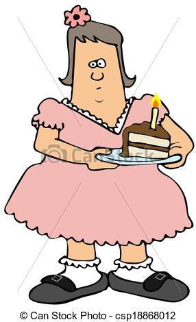 Clipart of Chubby girl eating birthday cake.
