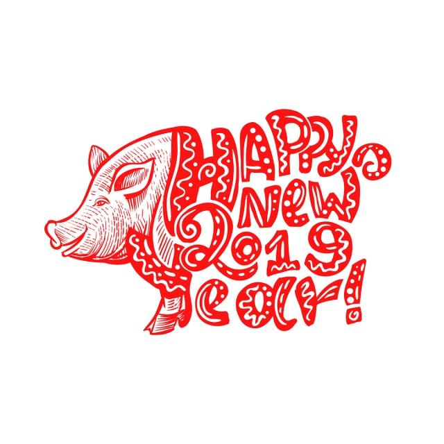 Dễ Thương 2019 Heo Mũi đỏ Và Chúc Mừng Năm Mới, Lợn, Lợn, Chạm Cái.
