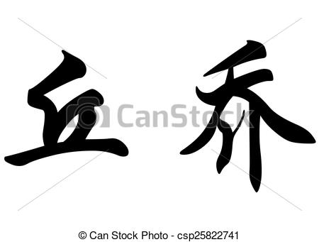 Drawing of English name Chucho in chinese calligraphy characters.
