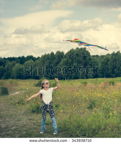 Little Cute Girl Flying Kite Meadow Stock Photo 354384191.