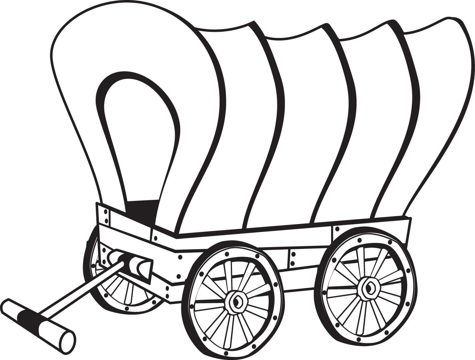 Pioneer Wagon Coloring Page coloring page, coloring image, clipart.