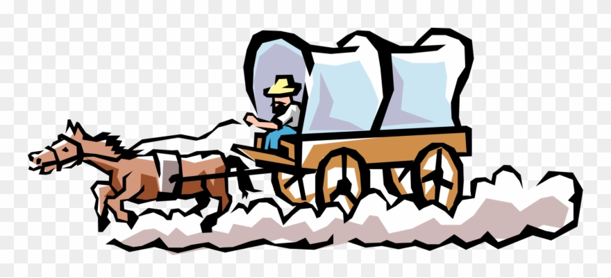 Vector Illustration Of Old West Chuck Wagon Or Chuckwagon.